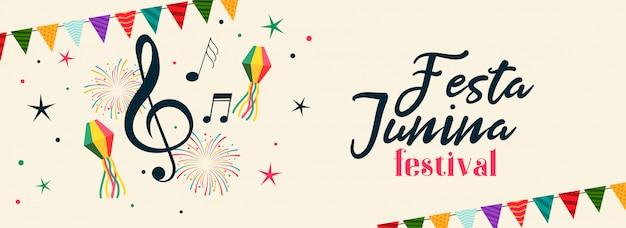 Braziliaanse festa junina muzikale feestbanner