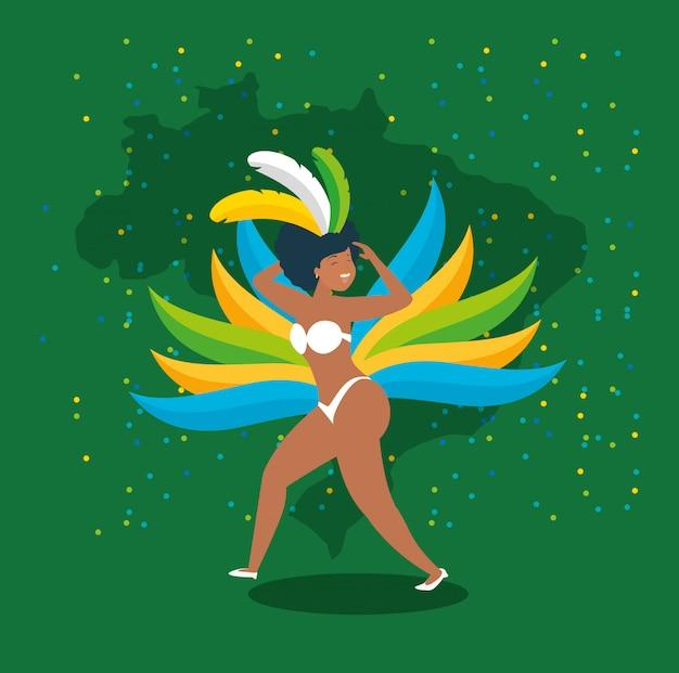 Braziliaanse garota dansende carnaval karakterillustratie