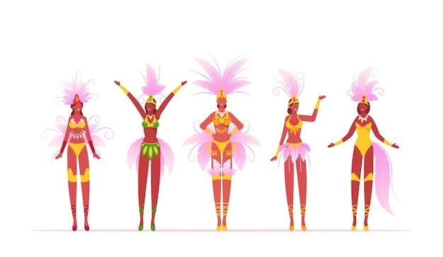 Braziliaanse samba dansers vrouwen geïsoleerd op een witte achtergrond, cartoon vlakke afbeelding