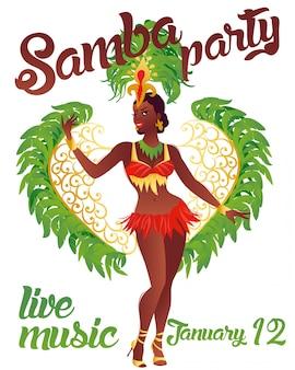 Braziliaanse sambadanser. vector carnaval meisje draagt een festival kostuum is dansen. Premium Vector