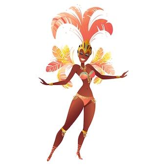 Braziliaanse sambadansers. carnaval in rio de janeiro meisjes een festival kostuum Premium Vector