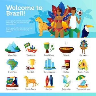 Braziliaanse tradities oriëntatiepunten recreatieve en culturele bezienswaardigheden voor toeristen vlakke poster