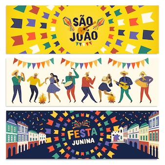Braziliaanse traditionele viering festa junina banner