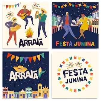 Braziliaanse traditionele viering festa junina-kaarten