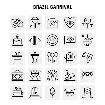 Brazilië carnaval lijn pictogram
