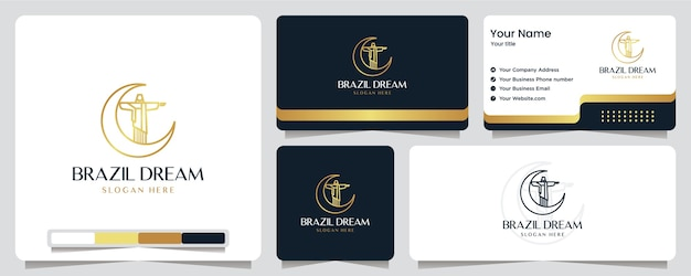 Brazilië droom, gouden kleur, jezus, luxe, banner, visitekaartje en logo-ontwerp