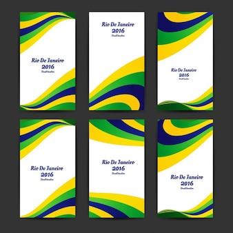 Brazilië kleuren golvend zakelijke sjablonen