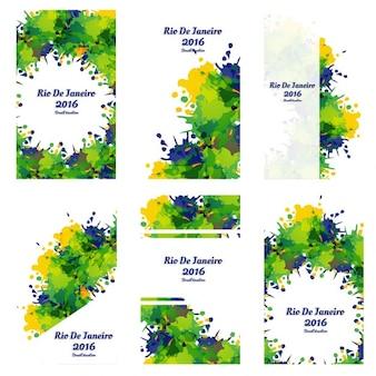 Brazilië kleuren grungy zakelijke sjablonen