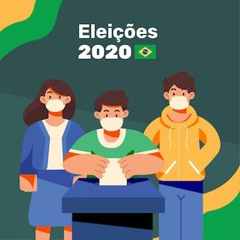 Brazilië mensen stemmen wachtrij met gezichtsmasker