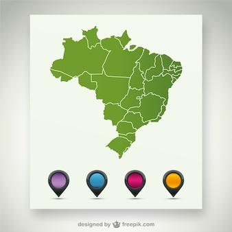 Brazilië vector kaart sjabloon