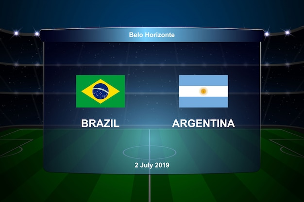 Brazilië vs argentinië voetbalscorebord