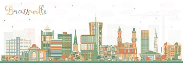 Brazzaville republiek congo city skyline met kleur gebouwen. vectorillustratie. zakelijk reizen en toerisme concept met historische architectuur. brazzaville stadsgezicht met monumenten.