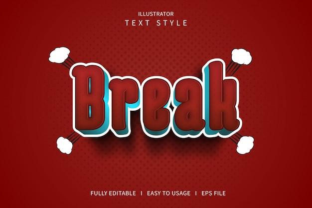 Break, 3d-tekststijl lettertype-effect rood gradatiepatroon