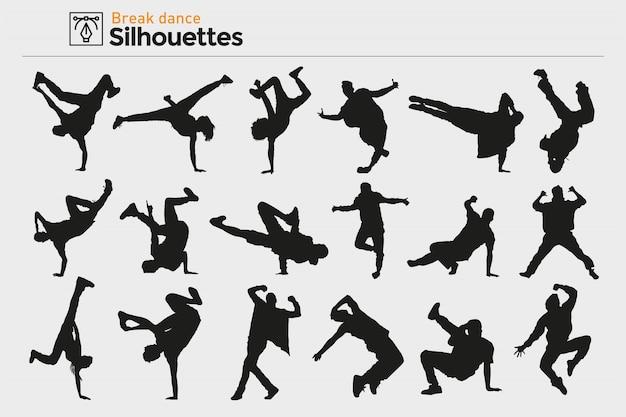 Breakdance silhouetten. premium.