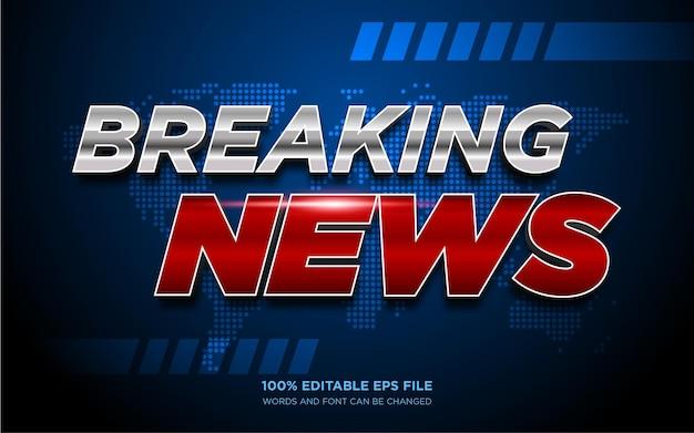 Breaking news 3d bewerkbaar tekststijleffect