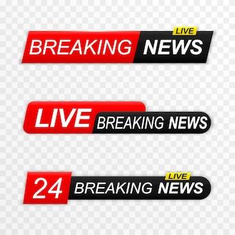 Breaking news achtergrond banners set breaking news live uitzending nieuws screensaver Premium Vector