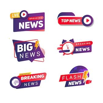 Breaking news collection banner set voor sociale media
