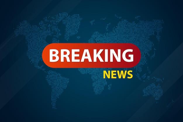 Breaking news live op blauwe wereldkaart. banner ontwerpsjabloon.