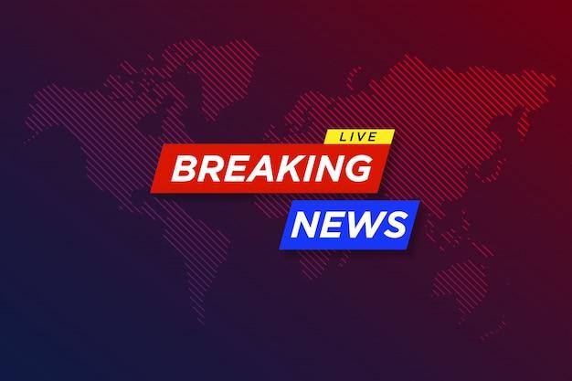Breaking news live tekst op wereldkaart achtergrond met blauwe en paarse kleuren. illustratie