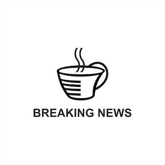 Breaking news pers logo speels koffiekopje