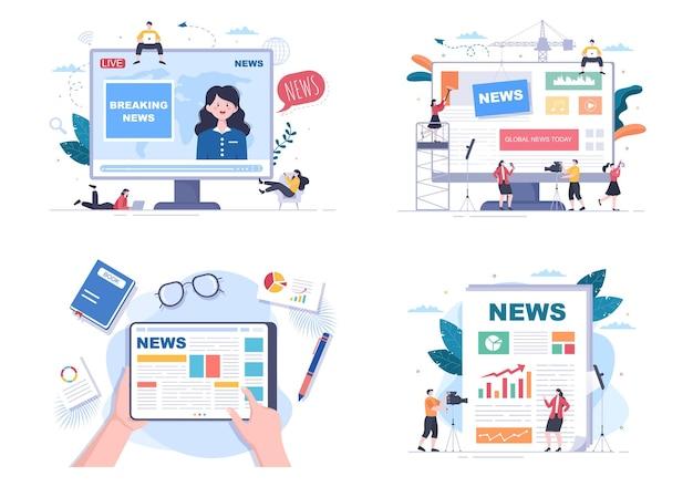 Breaking news reporter achtergrond vectorillustratie met omroep of journalist op de monitor over informatie-incident, activiteiten, weer en aankondigingen