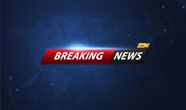 Breaking news-sjabloontitel met schaduw op de achtergrond van de wereldkaart voor scherm-tv. vectorontwerp.