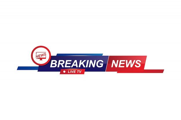 Breaking news-sjabloontitel voor tv-scherm op wit