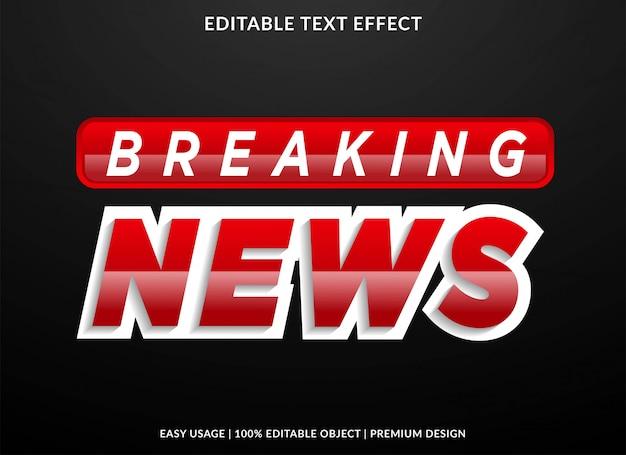 Breaking news tekst effect met gewaagde stijl Premium Vector