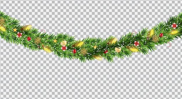 Brede kerst grens slinger fromf fir takken, ballen, dennenappels en andere ornamenten, geïsoleerd op transparante achtergrond