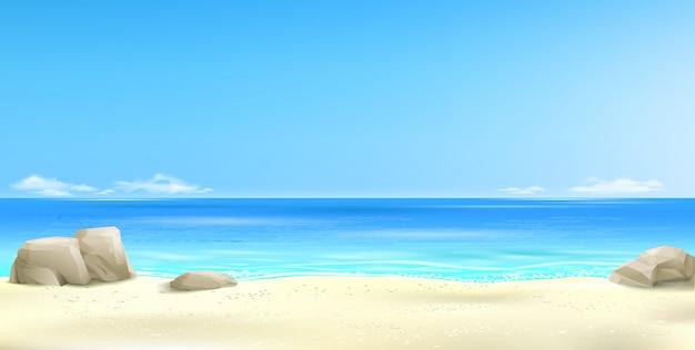 Brede tropisch strand achtergrond