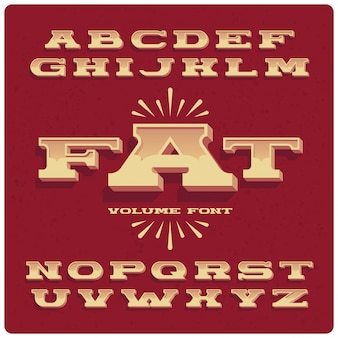 Brede vette vintage lettertypeset