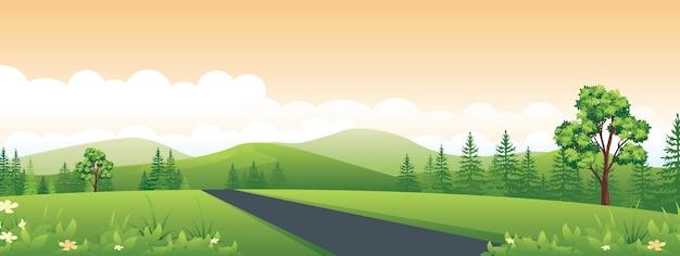 Breed horizontaal panorama van platteland