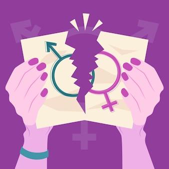 Breek de illustratie van geslachtsnormen met handen