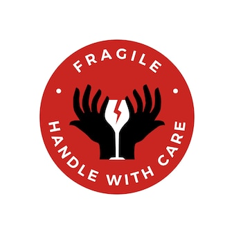 Breekbaar handvat met zorg hand glas sticker logo pictogram illustratie