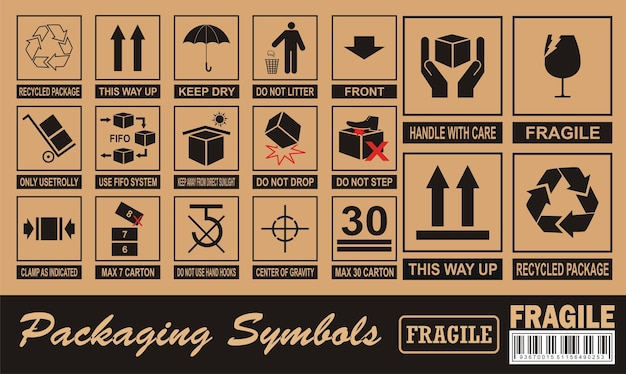 Breekbaar symbool op karton