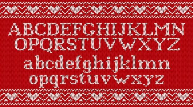 Brei lettertype op kerstmis gebreide achtergrond,