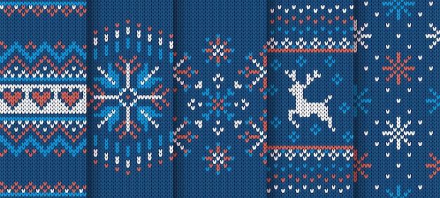 Brei textuur. kerst naadloze patroon. blauwe gebreide sweaterprint. xmas winter ornament instellen
