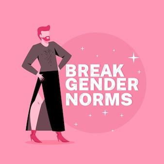Breken gendernormen illustratie concept