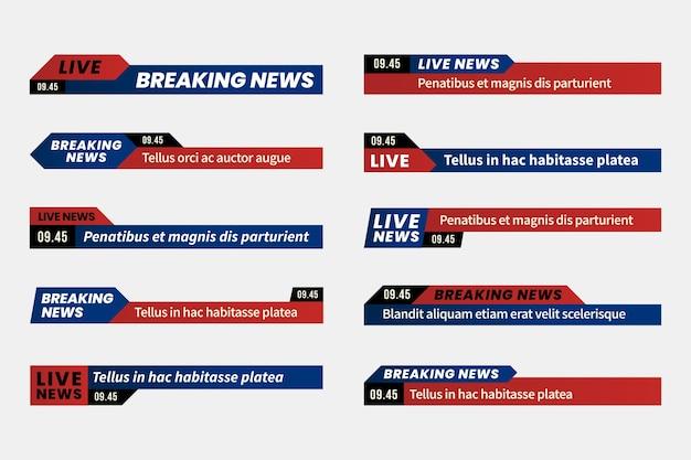 Brekend nieuws banners concept