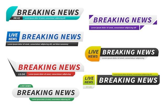 Brekend nieuws banners verschillende ontwerpen