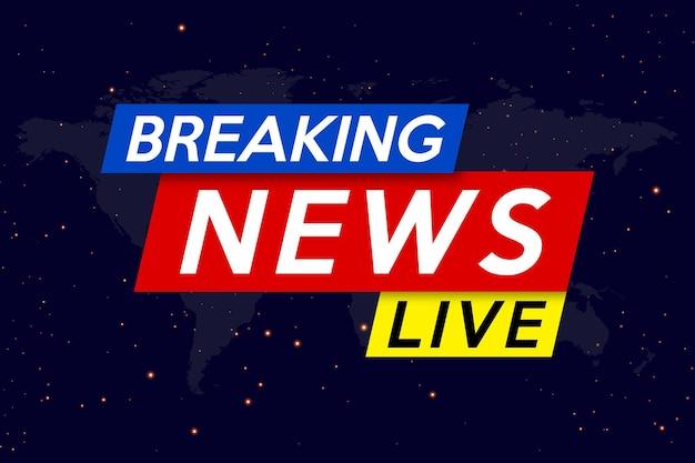 Brekend nieuws live op de achtergrond van de nachtelijke hemel. achtergrondschermbeveiliging bij het laatste nieuws.