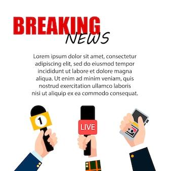 Brekend nieuws met tekstsjabloon en microfoonset. handen van journalisten met microfoons en bandrecorders media tv en interview, informatie voor televisie.