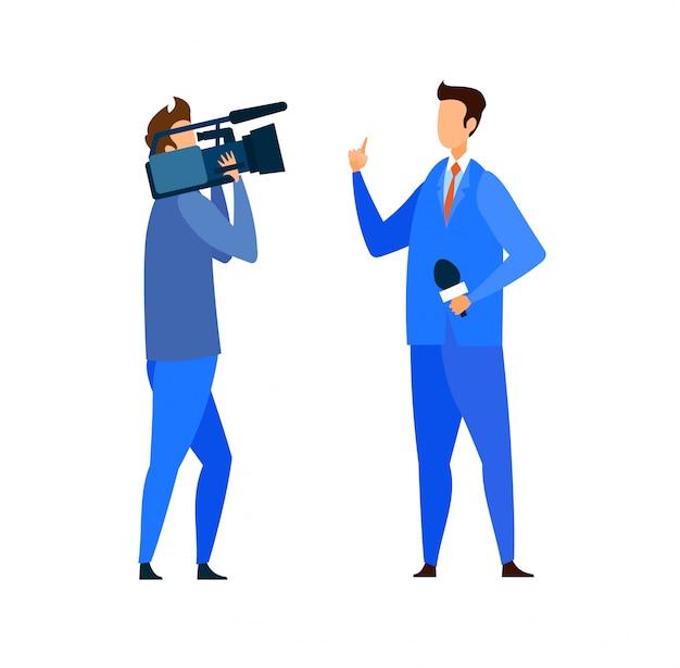 Brekend nieuws, reportage platte vectorillustratie