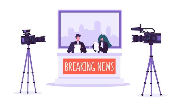 Brekend nieuws tv-studio, massamedia. professionele journalistenkarakters die dringend nieuws lezen. tv-studio met videocamera's, microfoons. live nieuwsshow.