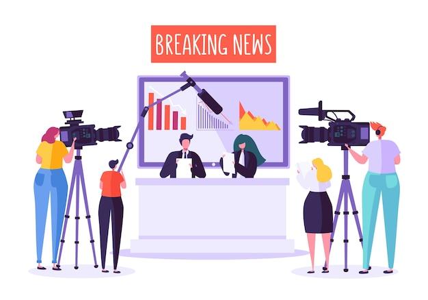 Brekend nieuws tv-studio, massamedia. professionele journalistenkarakters die dringend nieuws lezen.