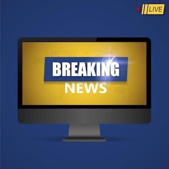 Brekend nieuwsachtergrond, het ontwerp van de het nieuwsbanner van wereldtv op monitor