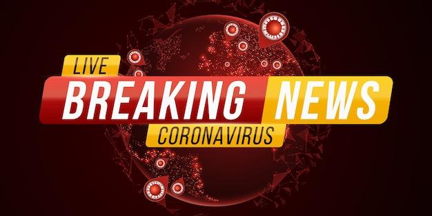 Brekend nieuwsbericht covid-19. corona-virus futuristische wereld. gevaarlijke cellulaire infectie. planeet aarde vanuit de ruimte met uitbraak van coronavirus.