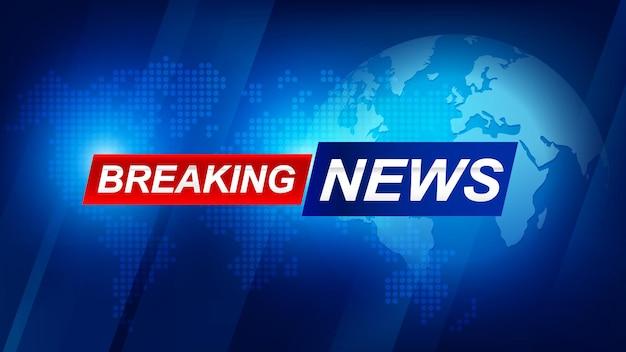 Brekend nieuwssjabloon met 3d-rode en blauwe badge