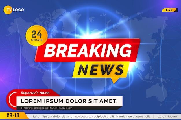 Brekende nieuws tv blauwe achtergrond