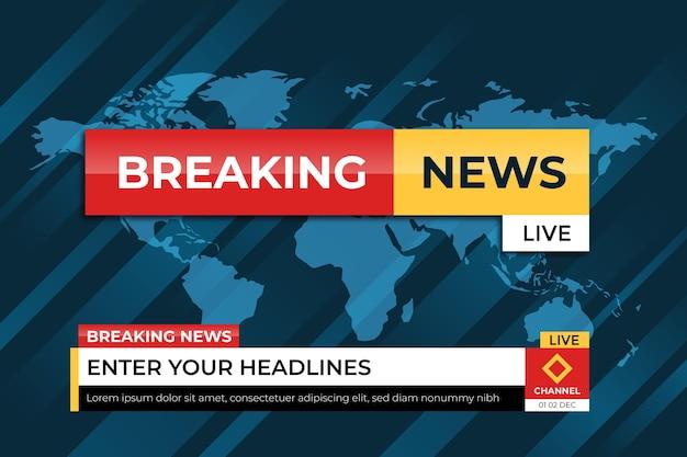 Brekende nieuwsbanner met wereldkaartbehang
